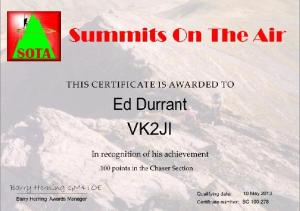 VK2JI SOTA 100 Chaser points award