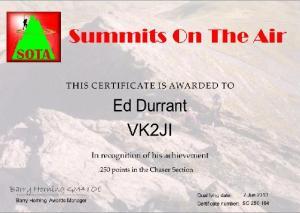 VK2JI 250 points SOTAChaser award